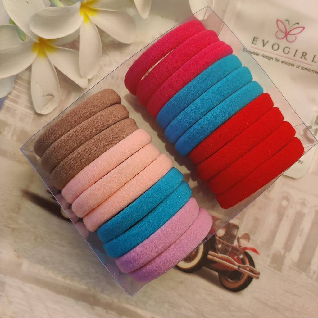 Evogirl Rubber Bands English Shade Soft Fabric Ponytailers Elastic Hair Ties Strechable Hair Bands Multicolor, Medium, for Women/Girls (Pack of 20)