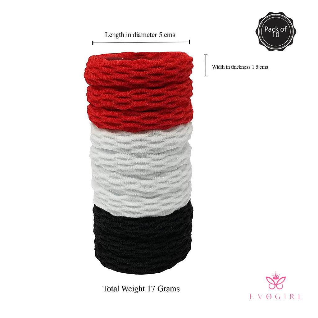 Evogirl Rubberbands Thick & Sturdy No Tangle Soft Hair Ties Black, White, Red,  (Pack of 10)