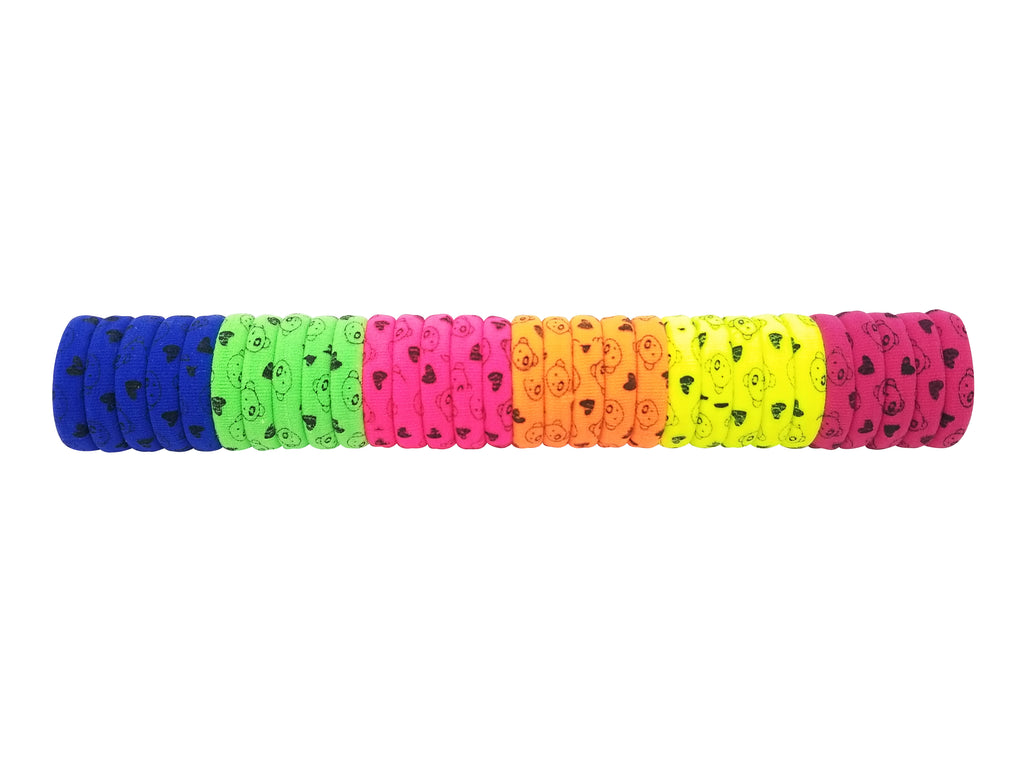 Evogirl Evogirl Rubberbands Schooltime Ponytailers, Neon Shades Teddybear Heart  (Pack of 30)/rb1085