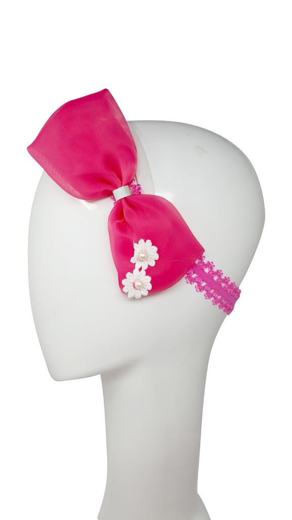 Evogirl Evogirl Head Bands Cute and Fancy Bow with Pearl Flower Birthday Party Fashion Hair Bands Pink/rb1100
