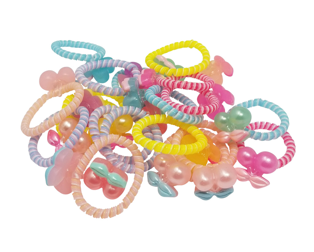 Evogirl Evogirl Cute Spiral Hair Ties Soft Coil Spring Elastic Cherry, Multicolored Kids Rubber Bands/rb907