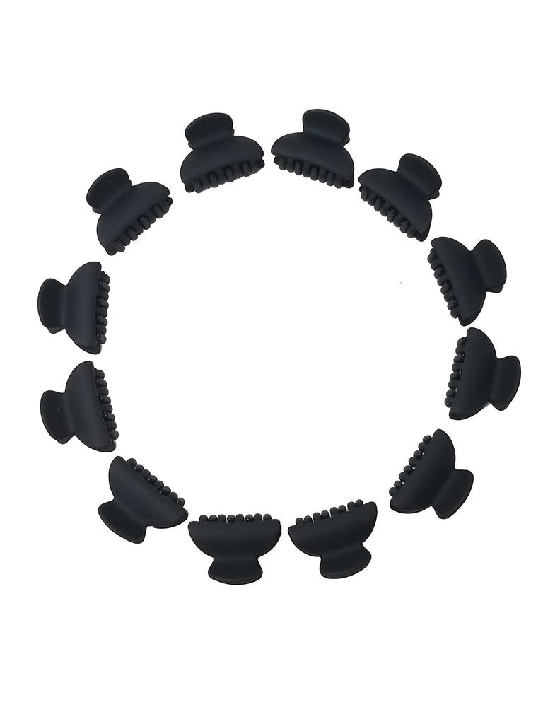 Evogirl Evogirl Hair Clips, Claw Clips, Butterfly Clips, , Curved Rectangle Black Colors/Girls, Pack of 12/rb319