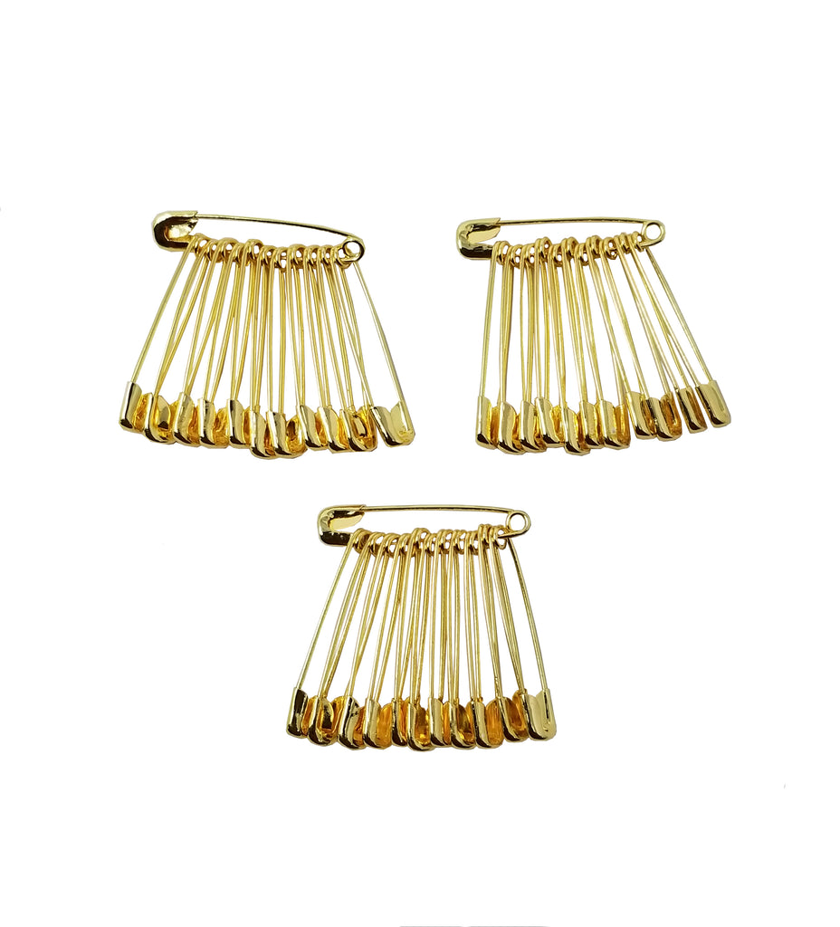 Evogirl Evogirl Safety Pin Gold Plated Metal Saree Pin Lock Pin 3cm Golden, XS, for Women/Girls (Pack of 36)/rb1837