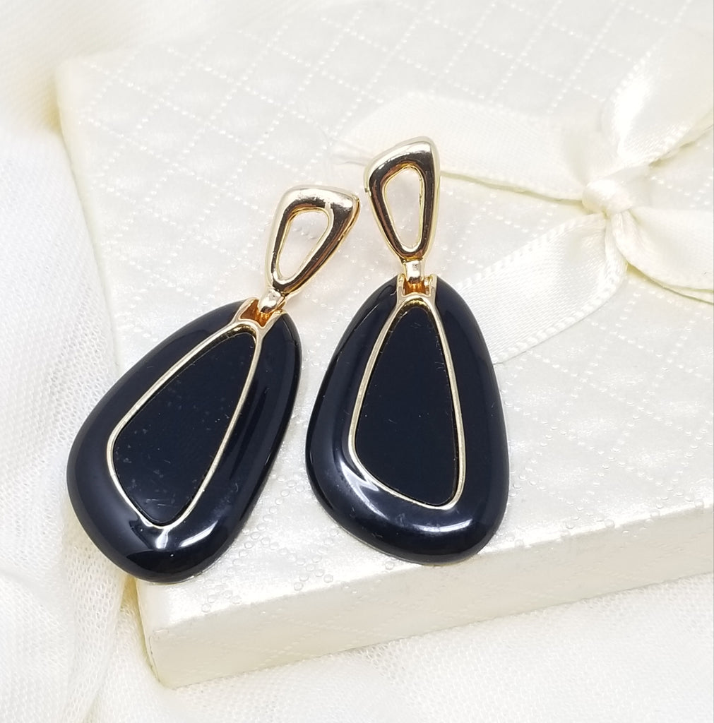 Evogirl Evogirl Formal & Casual Stylish Triangle Gold, Black Stones Earings, Small, For Women/rb744