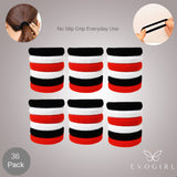 Evogirl Rubberband Schooltime Dailyuse Soft & Smooth Fabric Cotton Stretch Hair Ties No Metal Red, White, Black,Medium 5 cm , For Women / Girls
