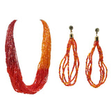 Evogirl Necklace with Earings Shiny Bids Sequence Bunch of Chain Self Designed Red & Orange, Med, for Women