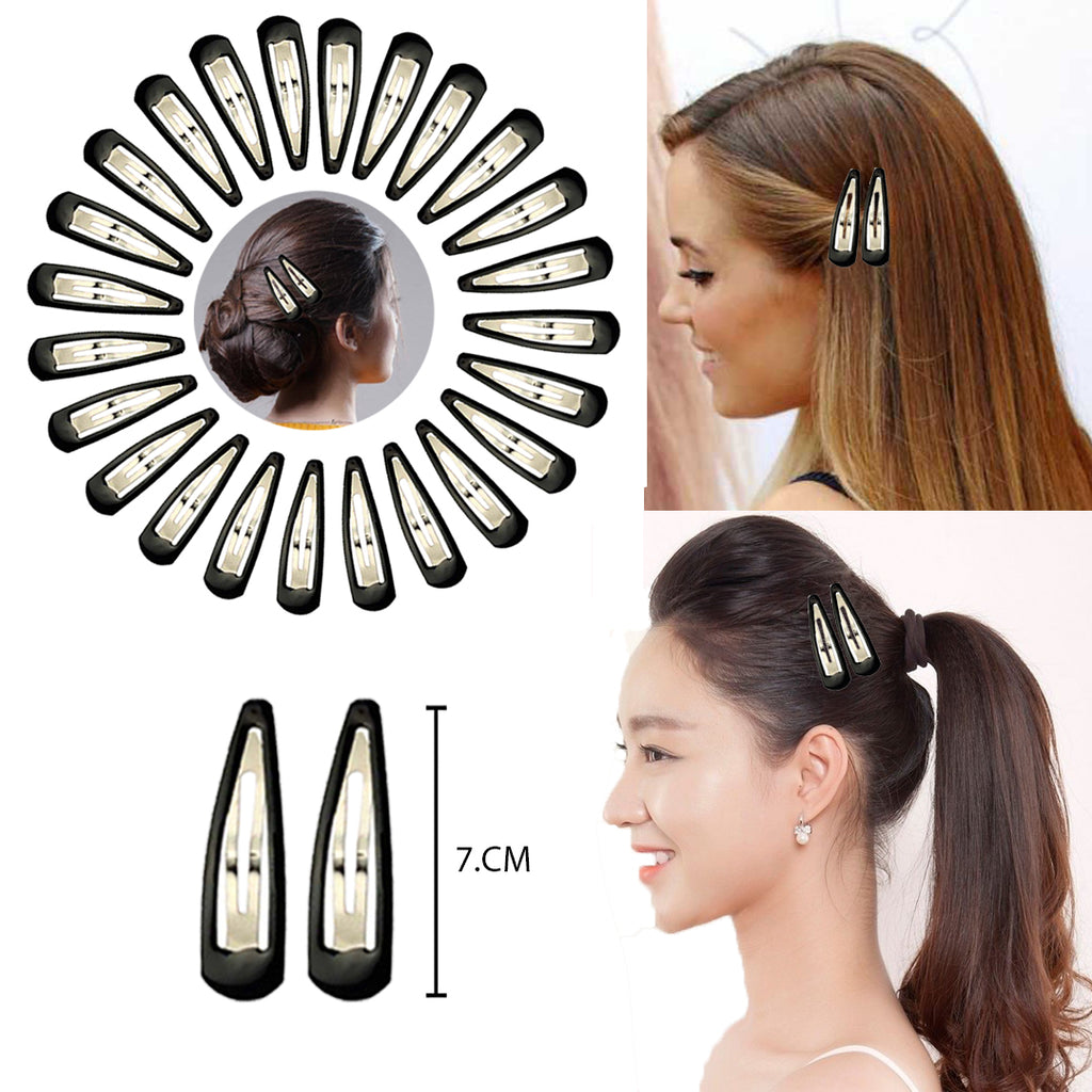 Evogirl Tictac Everyday Wear Metal Snap Hair Clips Barrattes Black Glossy,Xtra Large 7cm, For Women / Girls