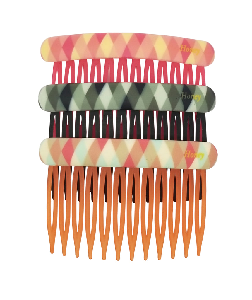 Evogirl Evogirl Hair Comb Quilted English Shade Hair Clips, Bun Decore Multicolored, Large (Pack of 3)/rb1216