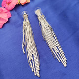 Evogirl Earrings Long Rhinestone Sequence with Chain Partywear Dangle Drop  Silver ,Med, For Women/Girls  /rb2282