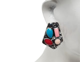 Evogirl Evogirl Earrings Pentagone Shaped Oxidized Babypink, Teal, Blue Vintage, Small, For Women/rb676