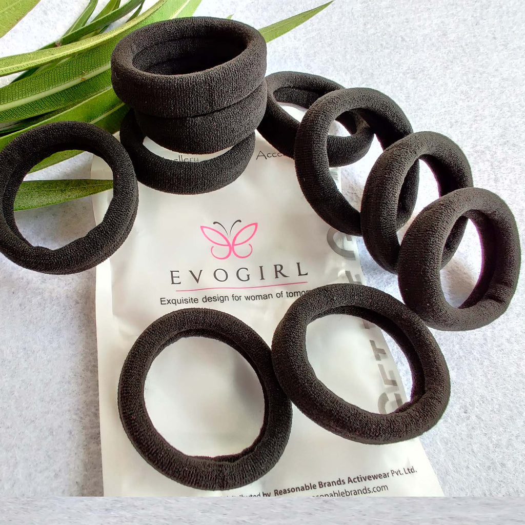 Evogirl Rubberbands Schooltime Dailyuse Elastic Cotton Stretch Hair Ties No Metal Black (Pack of 10)