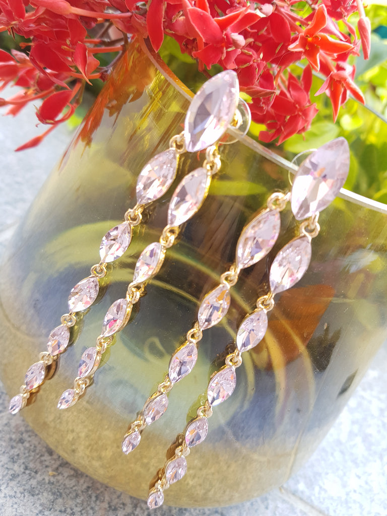 Evogirl Earrings Long Crystalized Dangled Oval Sequence Partywear Fancy Style Shiny Sparkle Pink ,Med, For Women/Girls  /rb2215