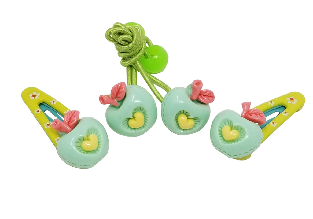 Evogirl Evogirl Cute & Funky Apple with Rubberbands Multicolored Kids Snap Hair Clips, Small, for Kids/Girls/rb890