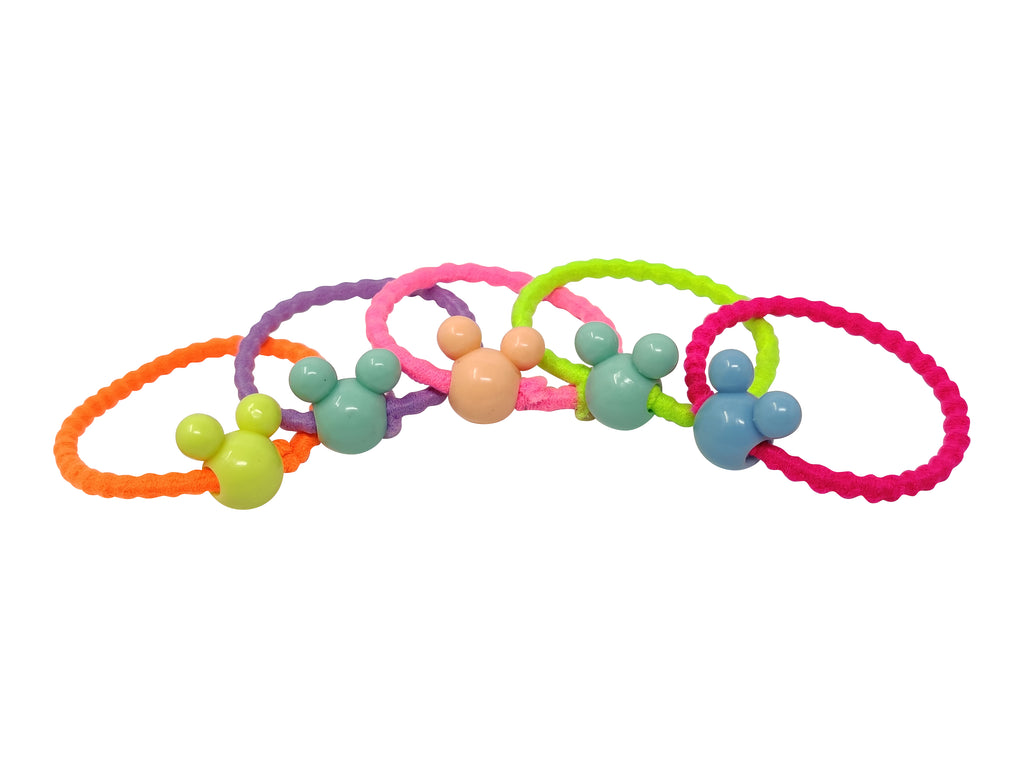 EVOGIRL Kids Ponytail Mickey Mouse Bids Rubber Bands Wavy & Soft Hair Ties Neon Medium Girls,30 Pk