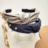 Evogirl Head Bands Pearl Lining Print Twisted Knot Fabric Hair BandGrey, Navy Blue,Large, for Women/Girls
