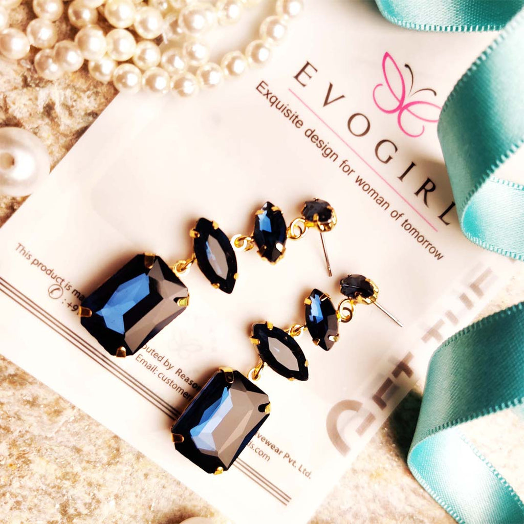 Evogirl Earrings Crystalized Stud Rectangle Shape Sparkly Shine Drop Dangle Royal Blue ,Med, For Women/Girls / Partywear  /rb2120
