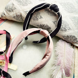Evogirl Head Bands Pearl Boardered Twisted Knot Fabric Hair BandBlack, Rustic Pink,Large, for Women/Girls