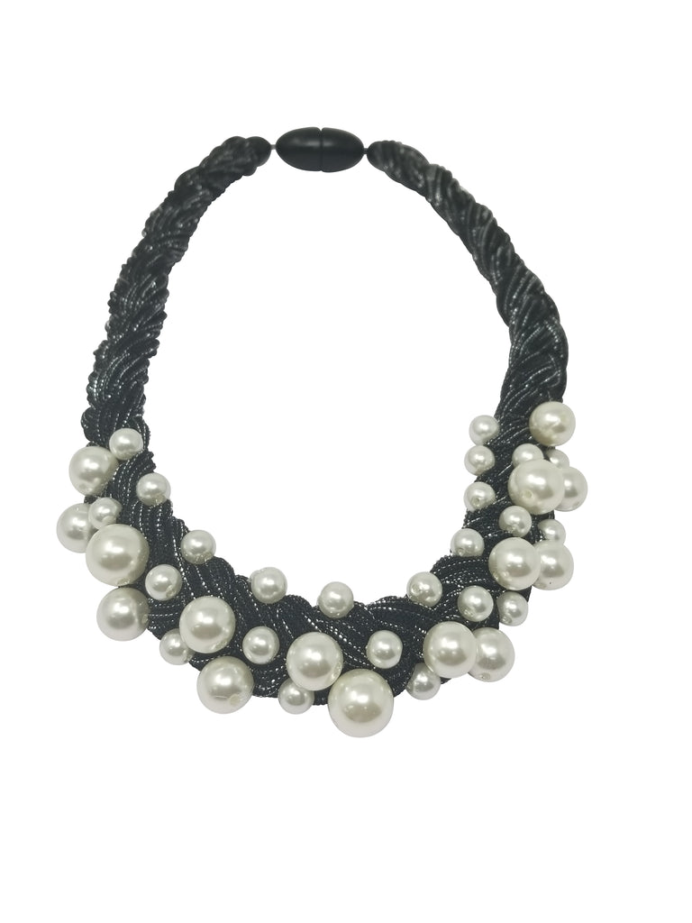 Evogirl Necklace Pearl & Fabric Self Designed Shiny Chain Black Mala, Med, for Women