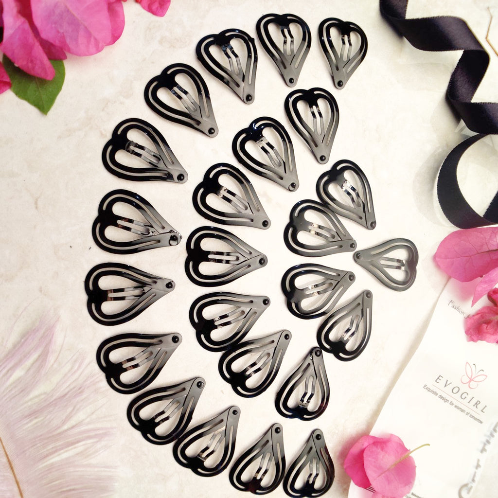 Evogirl Tic Tac Heart Shape Everyday Wear Pin School Time Metal Hair Clip Black, Medium, for Women/Girls (Pack of 24)