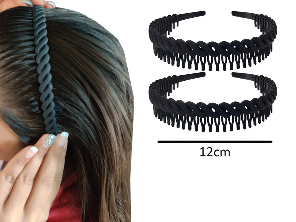 EVOGIRL Unisex Headband PlasticSpiral Jaw Matte Hairband Sports Tooth Bands Black
