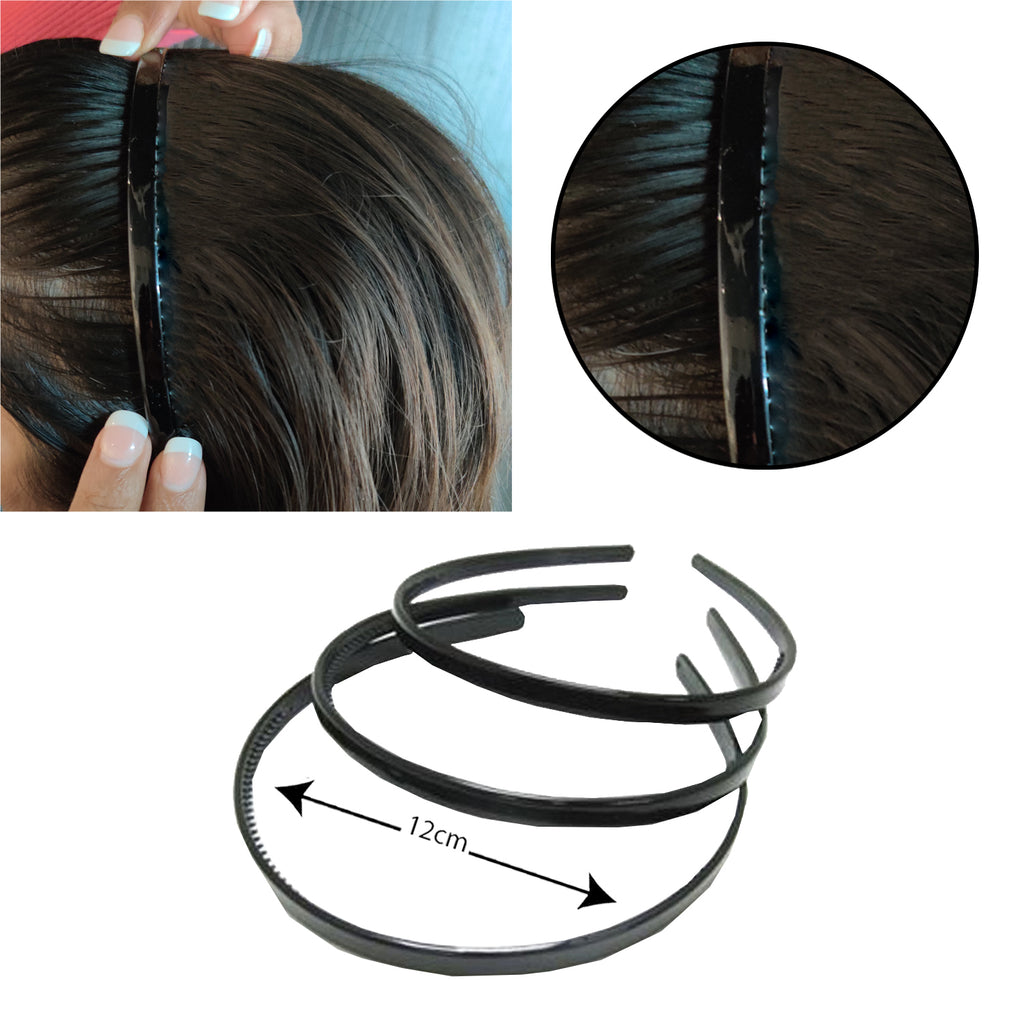Evogirl Headband Schooltime Unbreakable Hairband0.4cm Thick Black, XS/School Use (Pack of 3)