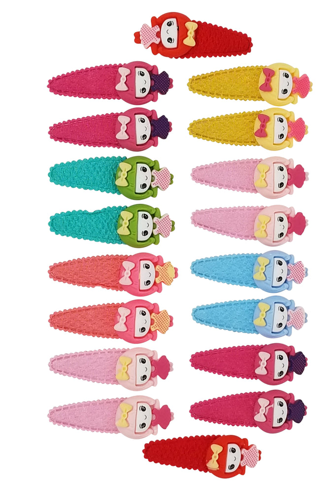 Evogirl Evogirl Cute & Funky Doll Image Fabric Multicolored Kids Snap Hair Clips, SmallFor Kids/Girls/rb857