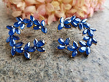 Evogirl Earrings Cute Petal Sequence Drop Curve Shape Designer Partywear Royal Blue ,Med, For Women/Girls  /rb2237