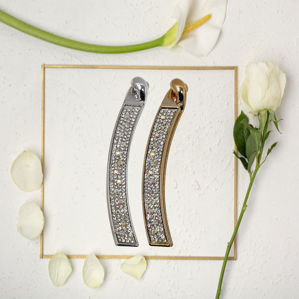 EVOGIRL Hair Clip Premium Diamond Banana Shaped Accessories Gold and Silver  Large Clip Banana Clip