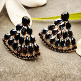 Evogirl Earrings Crystalized Stud Drop Cluster Triangle Shape Sparkly Shine Black ,Med, For Women/Girls / Partywear  /rb2160