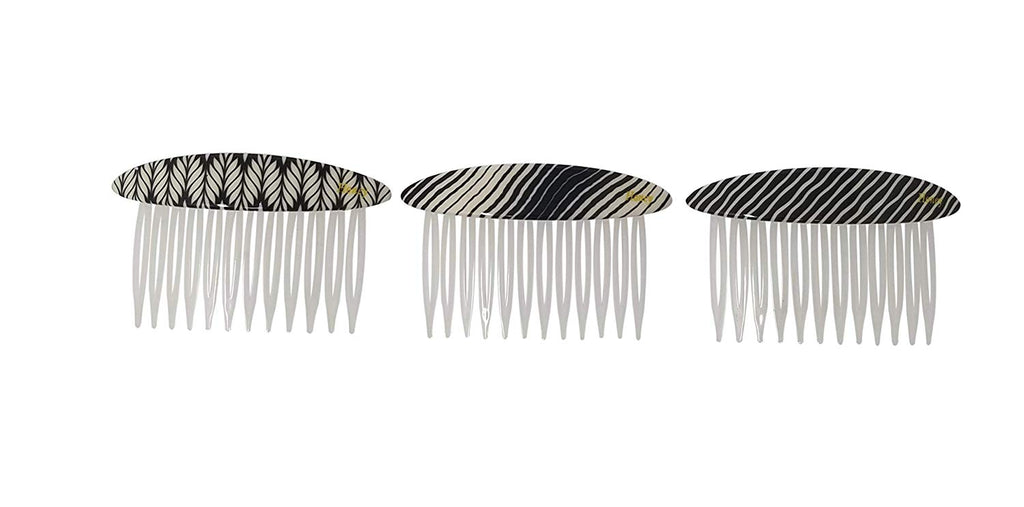 Evogirl Hair Comb Elegant Print Glossy Combo Gift Pack All Types of Hair Styles Matte Finish White & Black, Medium, for Women/Girls (Pack of 3)