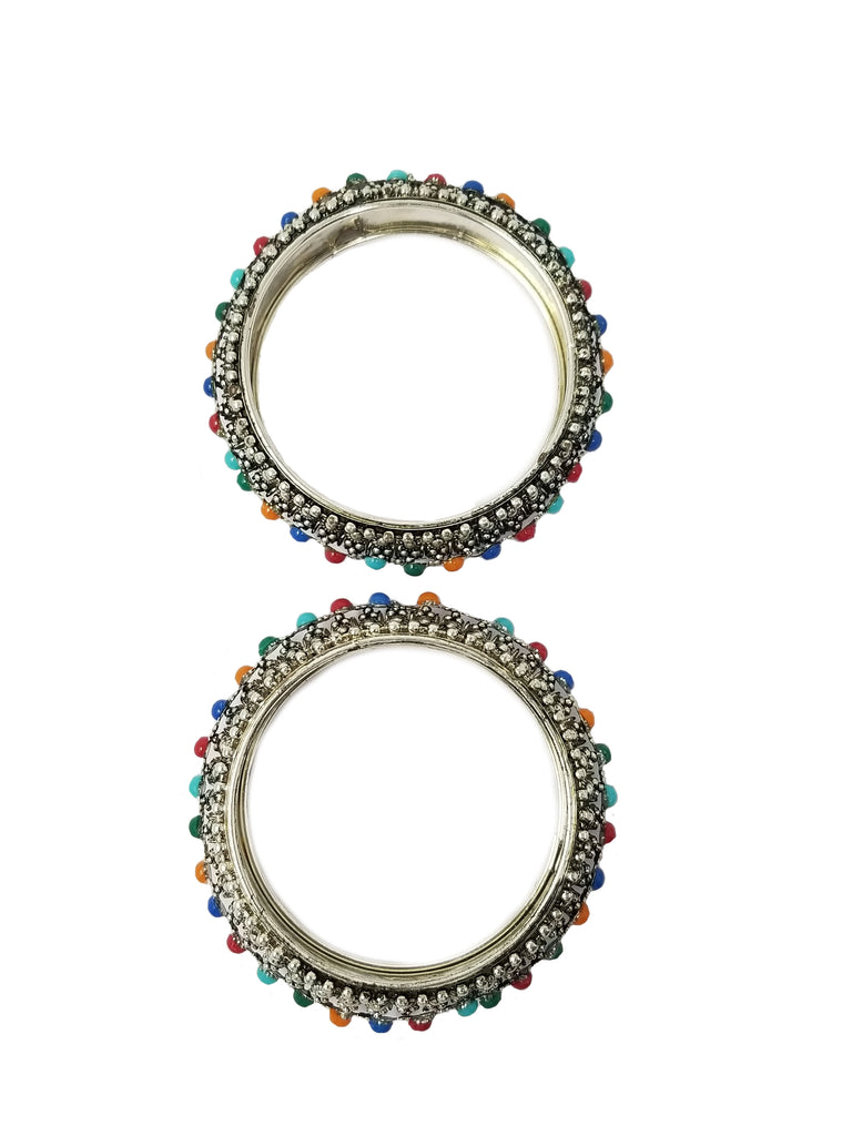 Evogirl Evogirl Bangles Thick Pearl Silver Toned Multicolor, 2 * 8, for Women (Pack of 2)/rb1936