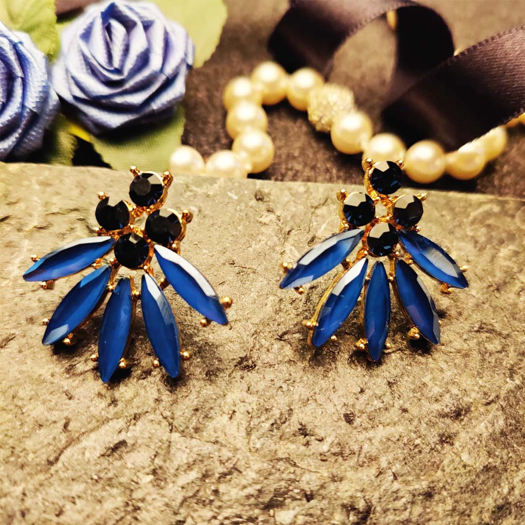 Evogirl Earrings Crystalized Stud Drop Floral Shape Diomond Cluster Royal Blue ,Med, For Women/Girls / Partywear  /rb2105