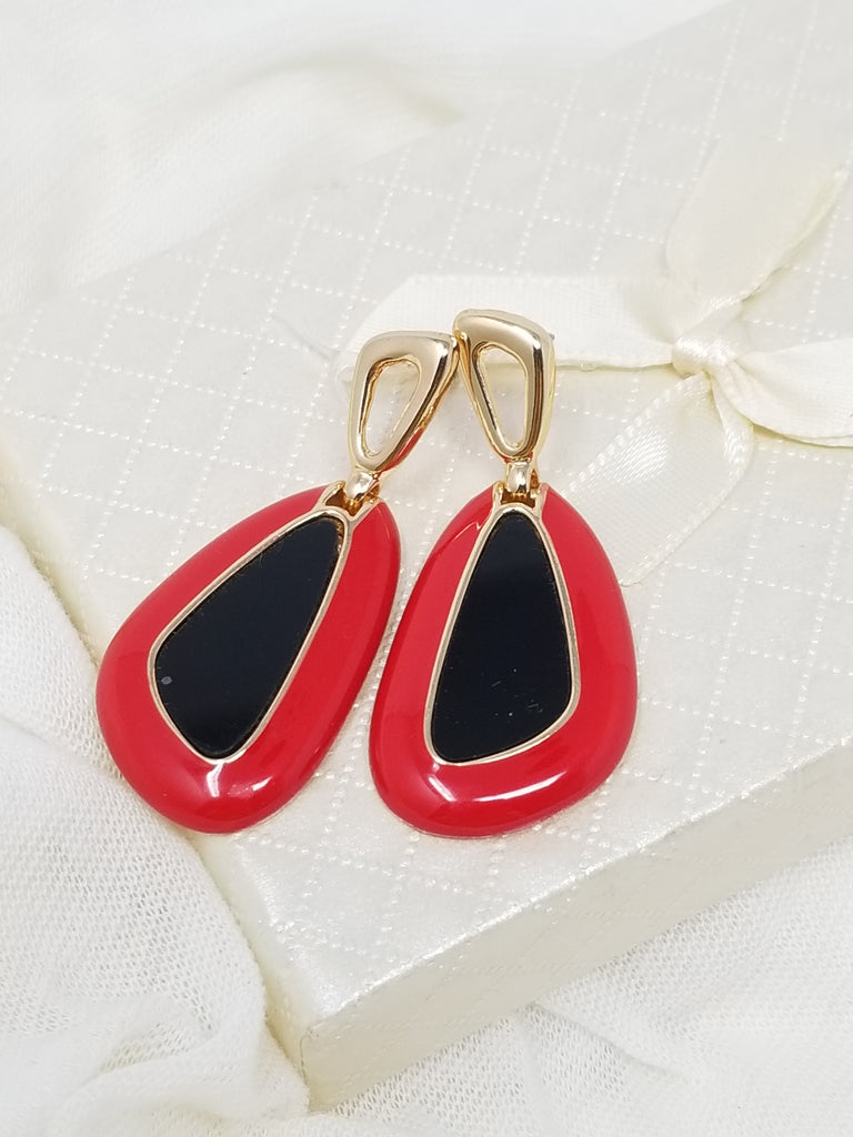 Evogirl Evogirl Formal & Casual Stylish Triangle Gold, Red Stones Earings, Small, For Women/rb743