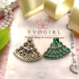 Evogirl Earrings Crystalized Stud Drop Cluster Triangle Shape Sparkly Shine Green ,Med, For Women/Girls / Partywear  /rb2163