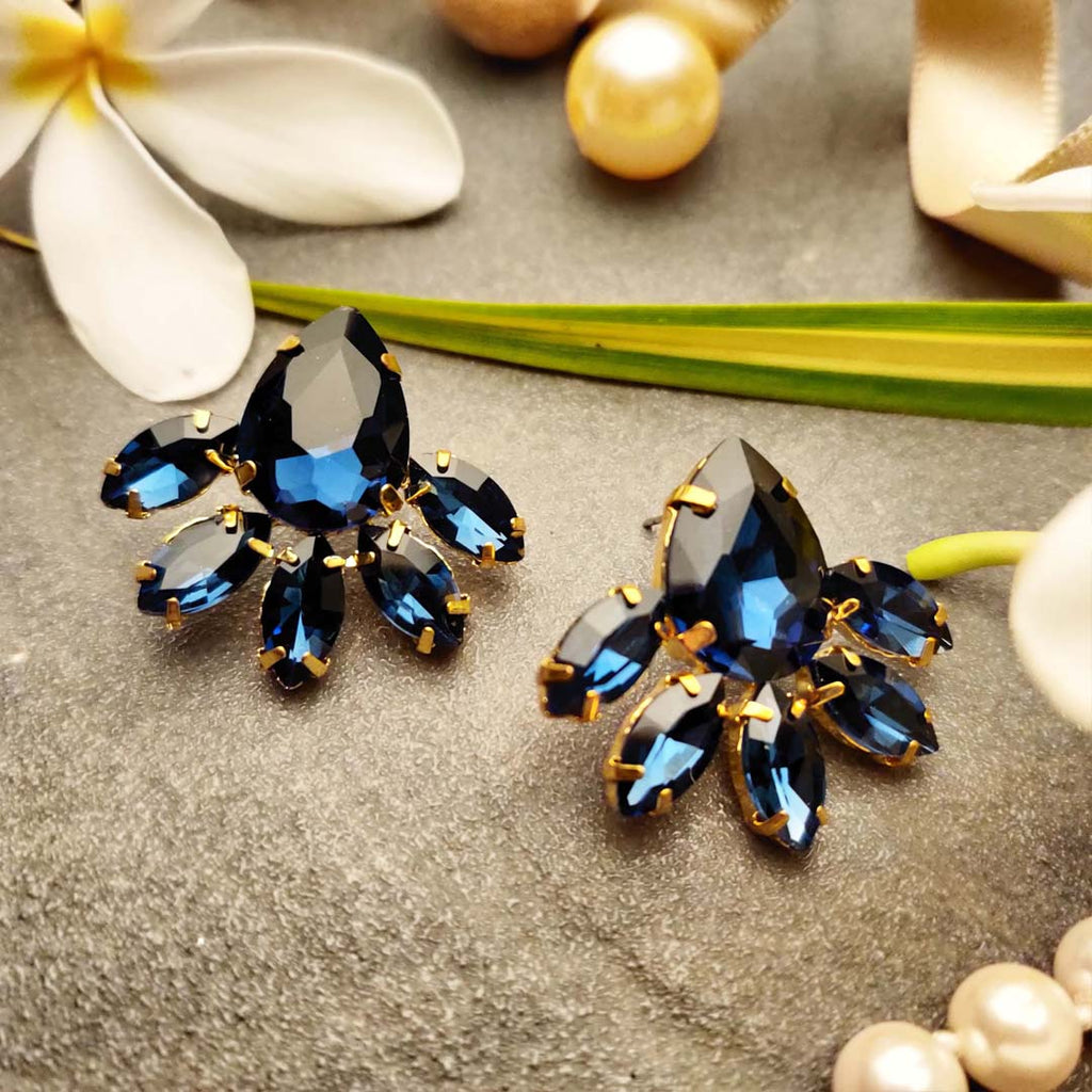 Evogirl Earrings Crystalized Stud Tear Drop Shape Sparkly Shine Cluster Royal Blue ,Med, For Women/Girls / Partywear  /rb2127