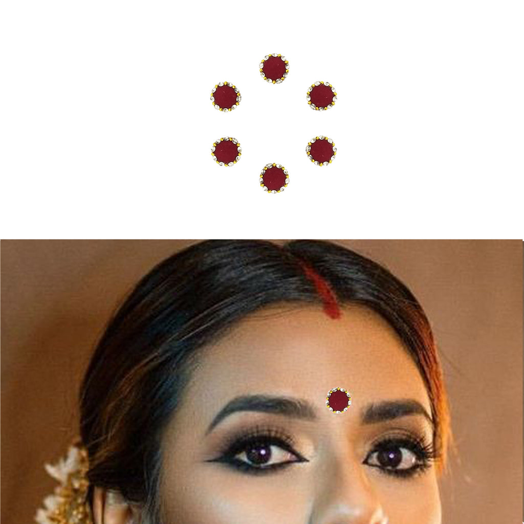 Evogirl Bindi Premium Collection Maroon With Studded Dimond Border Designer Evergreen Look, Med, For Traditional Wear/Women (Pack Of 6)