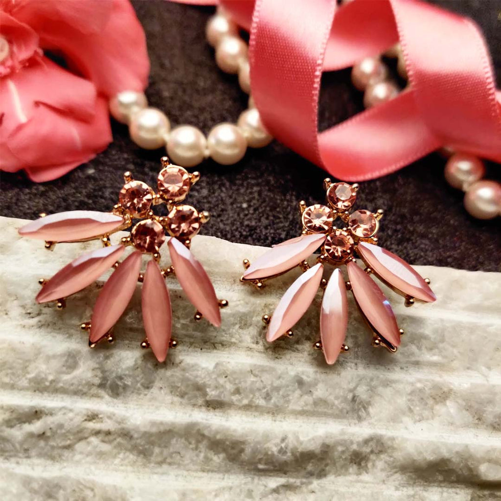 Evogirl Earrings Crystalized Stud Drop Floral Shape Diomond Cluster Baby Pink ,Med, For Women/Girls / Partywear  /rb2103