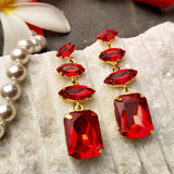 Evogirl Earrings Crystalized Stud Rectangle Shape Sparkly Shine Drop Dangle Red ,Med, For Women/Girls / Partywear  /rb2115