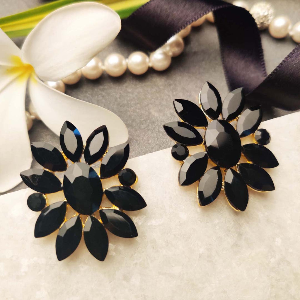 Evogirl Earrings Crystalized Stud Drop Cluster Sunflower Shape Pestal Frosted Black ,Med, For Women/Girls / Partywear  /rb2146