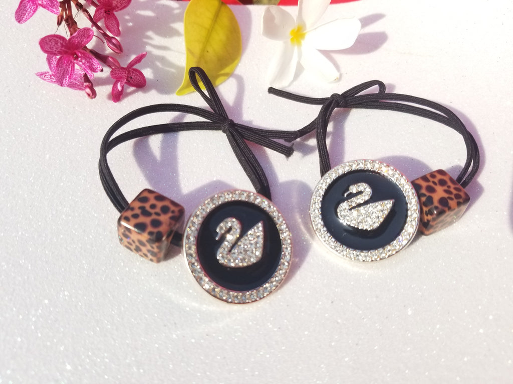 EVOGIRL Crystal Cheetah Print With Swarowski duck Circle Hair Band Soft Velvet Hair Ties Black