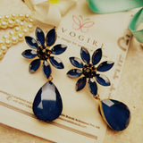 Evogirl Earrings Crystalized Stud Tear Drop Bohemian  Flower Fancy Partywear Style Royal Blue ,Med, For Women/Girls  /rb2185