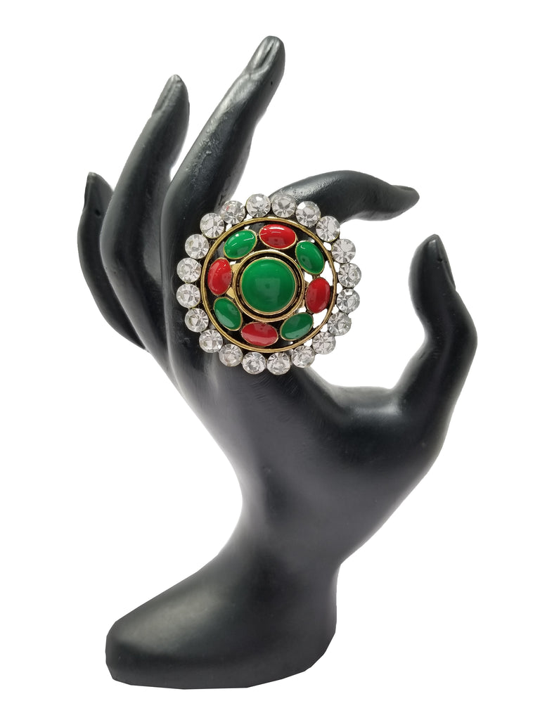 Evogirl Evogirl Hand Ring Circle Stone with Studded Dimonds Designer Red,Green, Med/Partwear/Casual/rb1757