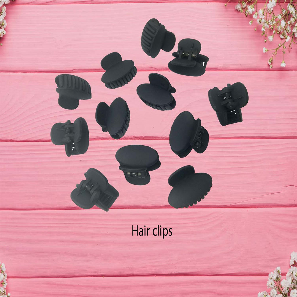 Evogirl Hair Clips, Claw Clips, Butterfly Clips, Small, Oval Shape Matte Black Colors for Women/Girls, Pack of 12