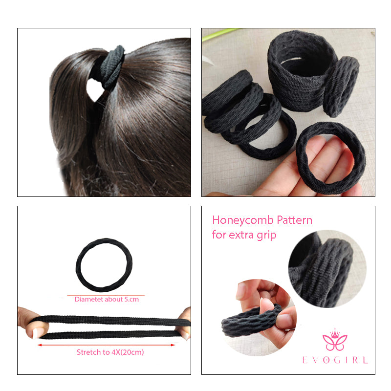 Evogirl Rubberbands Schooltime Thick & Sturdy No Tangle Soft Hair Ties Black,  (Pack of 10)