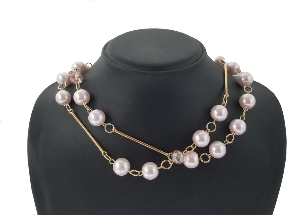 Evogirl Evogirl Necklace Pearl & Shiny Bids Golden Chain Pink Mala, Med, for Women/rb1645new