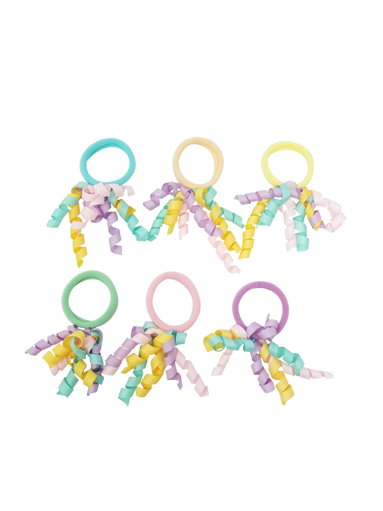 Evogirl Evogirl Rubberbands Schooltime Korker Fancy with Ribbons Pastle Shade , /Kids/Girls (Pack of 6)/rb1029