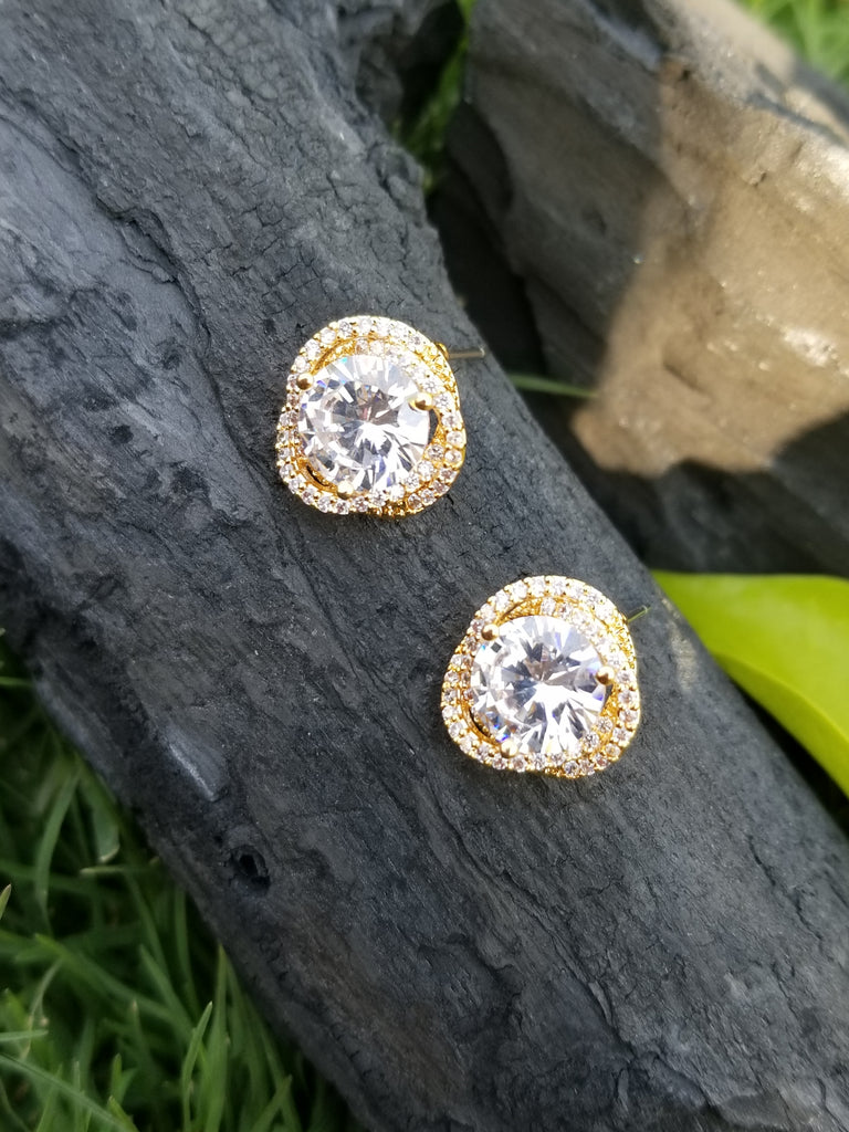 Evogirl Evogirl Earings Crystals With Big Sturd Dimond Ring Tops Golden Plated For Women/rb1706