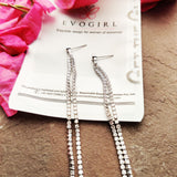 Evogirl Earrings Long Rhinestone Sequence Elegant Charm Drop Partywear Silver ,Med, For Women/Girls  /rb2272
