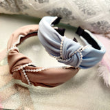 Evogirl Head Bands Pearl Boardered Twisted Knot Fabric Hair BandSky Blue, Beige,Large, for Women/Girls
