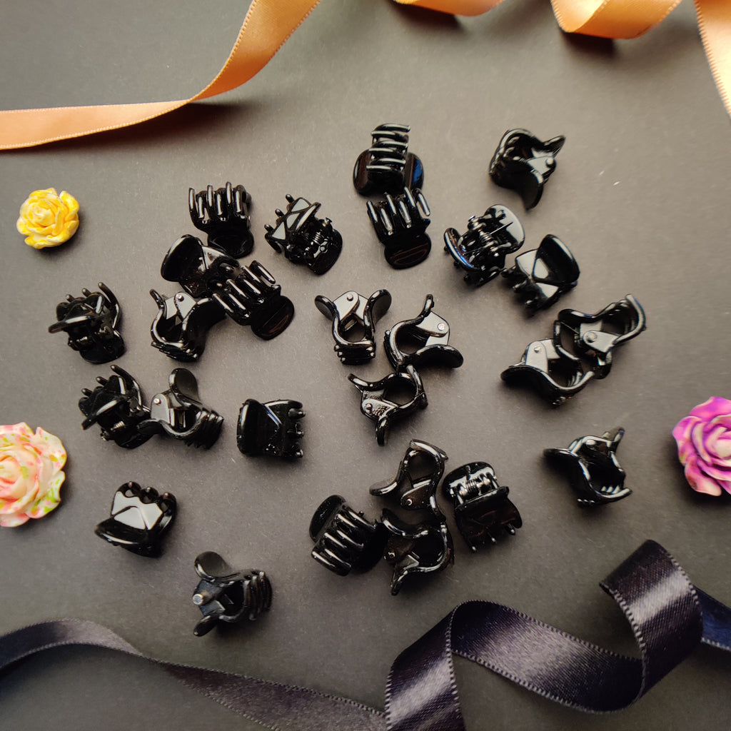 Evogirl Mini Hair Claw Solid Color Mini Hair Clip Hair Accessories Black,Xtra Small, for Children/Girls